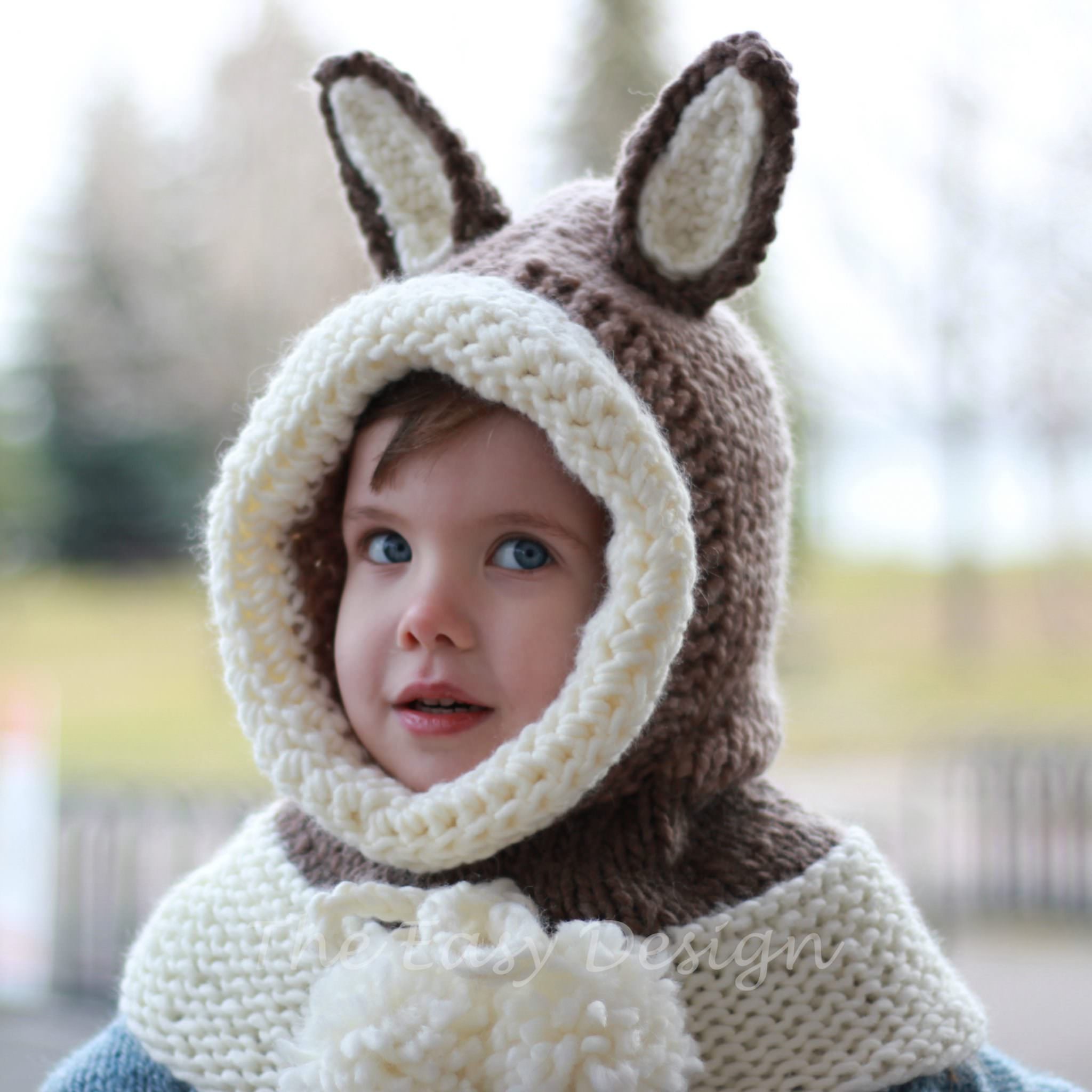 Riley Rabbit Bunny / Hooded Cowl - Knitting pattern - The Easy Design